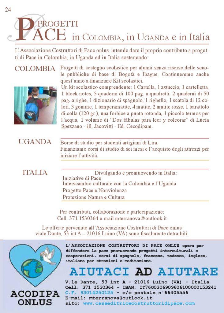 Progetto di Pace in Colombia, Uganda e Italia